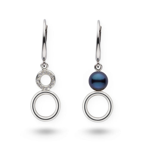 Akoya Pearl and Diamond Dangle Earrings in Sterling Silver