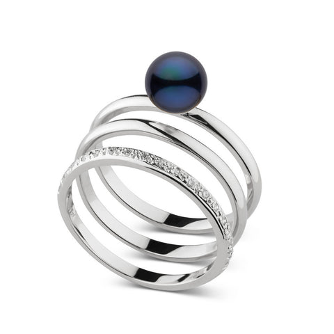 Akoya Pearl and Diamond Stacking Ring Set in Sterling Silver