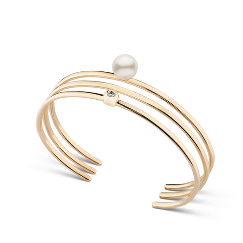 Akoya Pearl and Diamond Stacking Cuff Bracelet Set in Yellow Gold
