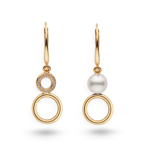 Akoya Pearl and Diamond Dangle Earrings in 14k Yellow Gold