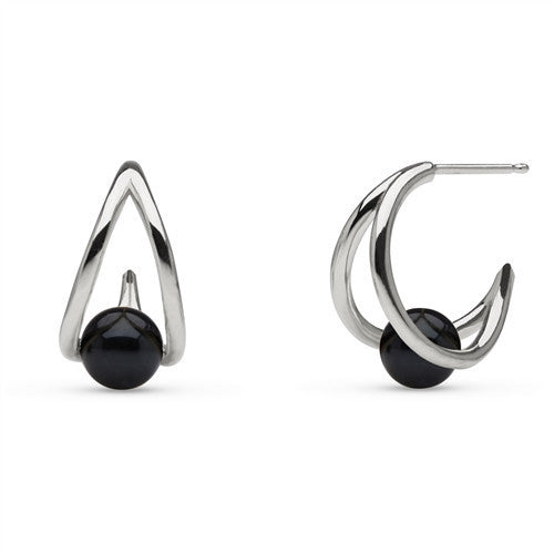 Akoya Pearl Small Hoop Earrings in Sterling Silver