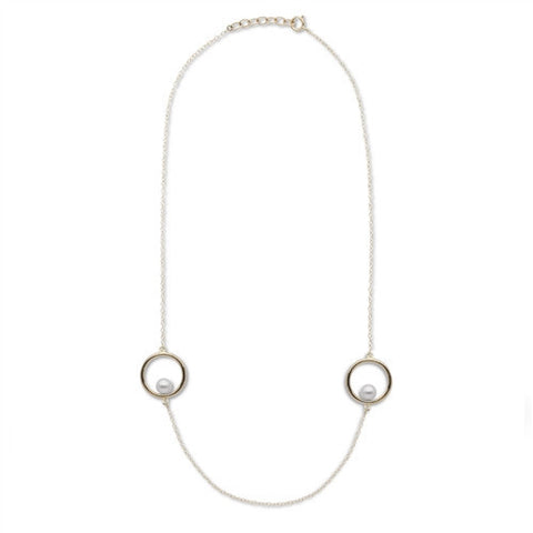 Akoya Pearl Hoop Necklace in 14k Yellow Gold