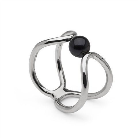 Eclipse Ring with Akoya Pearl in Sterling Silver