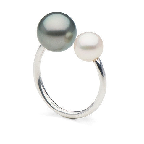 Double Pearl Ring with Tahitian Pearl and Freshwater Pearl in Sterling Silver