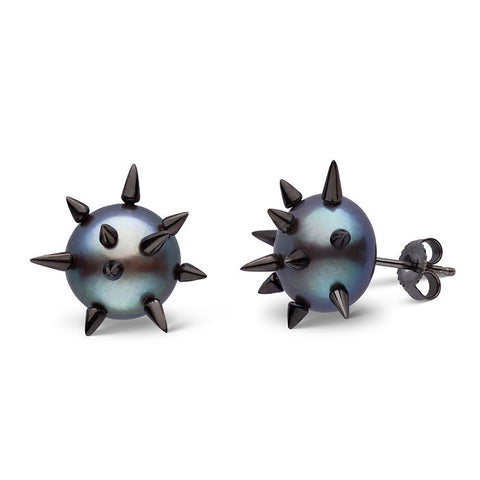 Spiked Pearl Studs in Black Rhodium