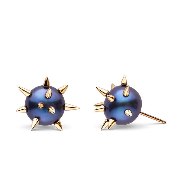 Spiked Pearl Studs in Yellow Gold