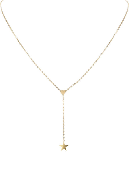 Star & Heart Lariat-Style Necklace