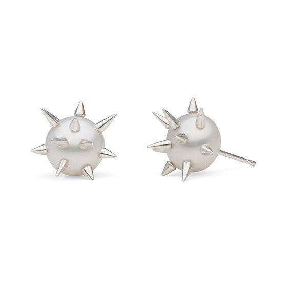 Spiked Pearl Studs in Sterling Silver