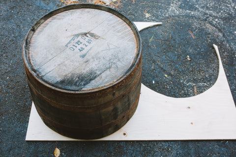 whisky barrel planter flipped plywood diy base