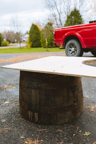 whisky barrel planter diy plywood base step 4