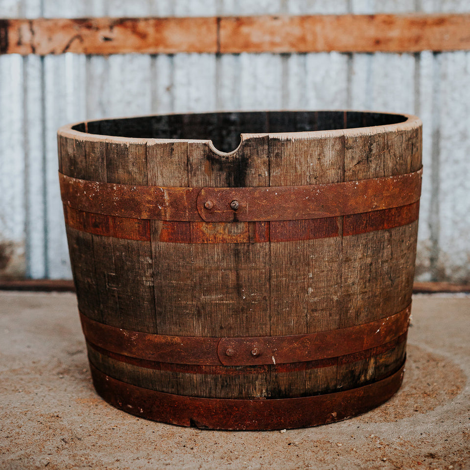 rustic whisky barrel planter