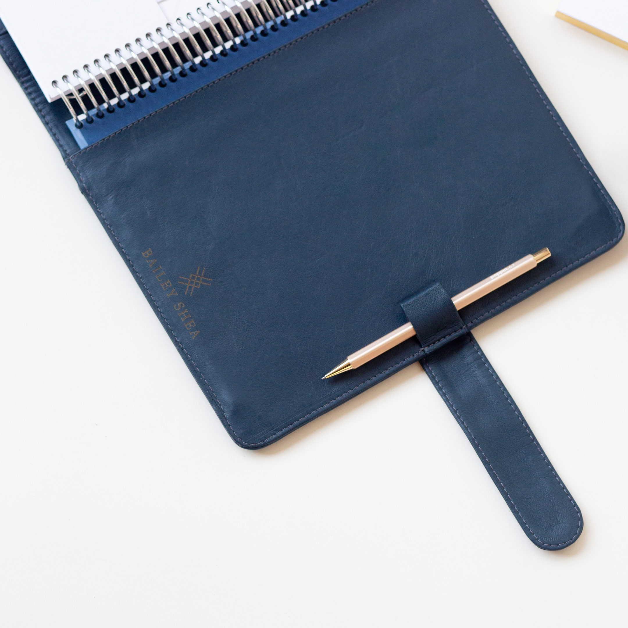 Genuine Leather Planner Cover: Navy