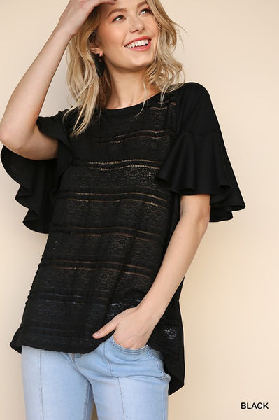 Black Ruffled Flutter Sleeve