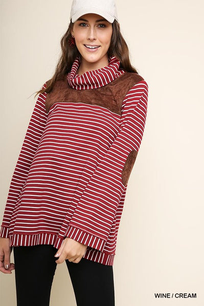 Wine Stripe Cowl Neck