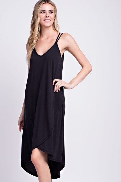 Black Strappy Hi-Low Dress