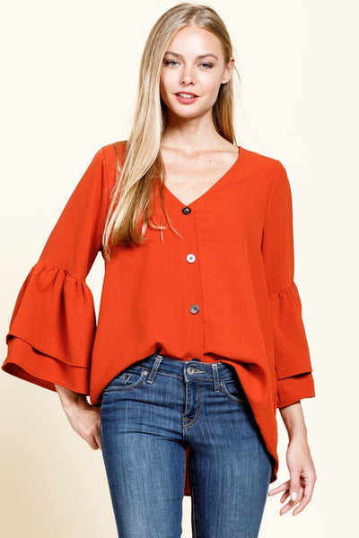 Rust Button Front Bell Sleeve
