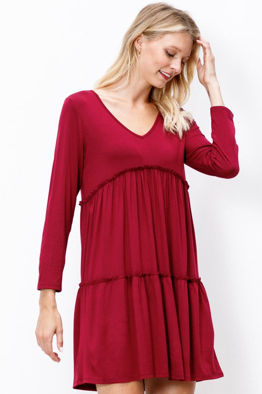 Burgundy Tier Dress