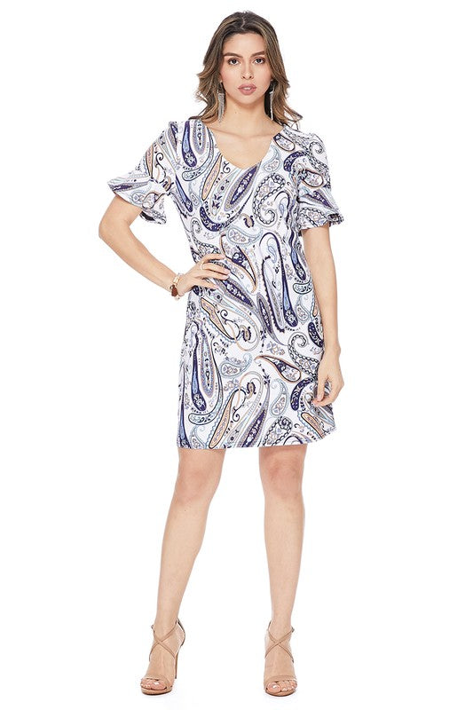 Navy Paisley Shift Dress