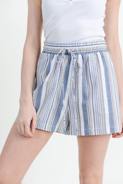 Indigo & Sand Stripe Shorts