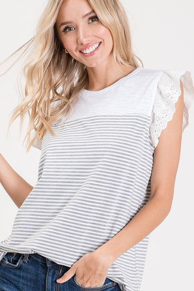 Grey Stripe Lace Sleeve Top