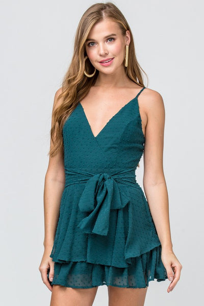 Hunter Green Dotted Swiss Romper