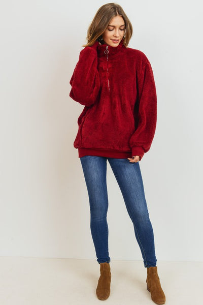 Burgundy Fuzzy Pull-Over