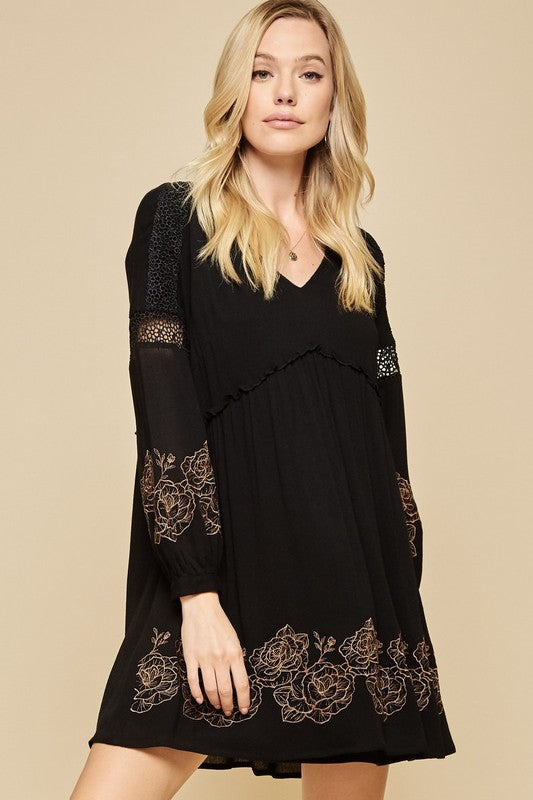 Black Embroidered Shift Dress