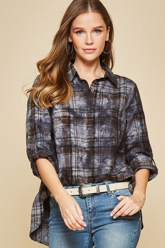 Charcoal Washed Plaid Top
