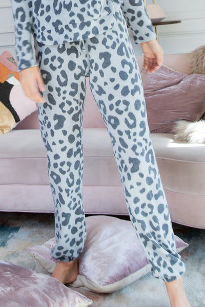 Grey Leopard Brushed Lounging Pants