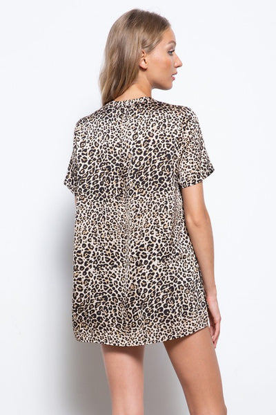 Satin Leopard Blouse
