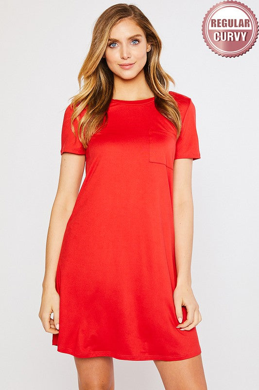 Red Pocket Tee Dress