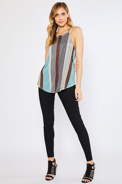 Multi Stripe Halter Top