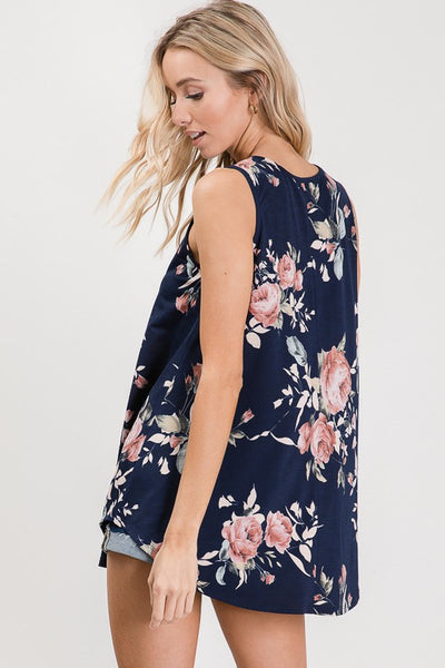 Navy Floral Sleeveless