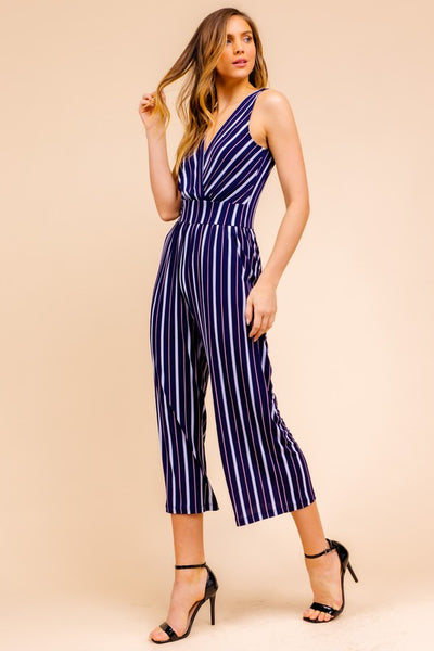 Navy Stripe Crop Jumpsuit