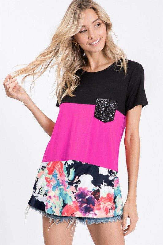 Color Block Sequin Pocket Top
