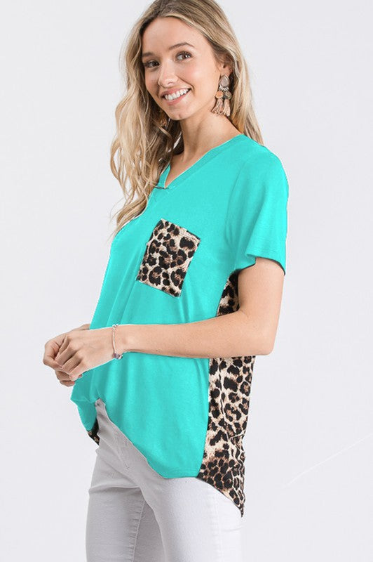 Mint Leopard Pocket