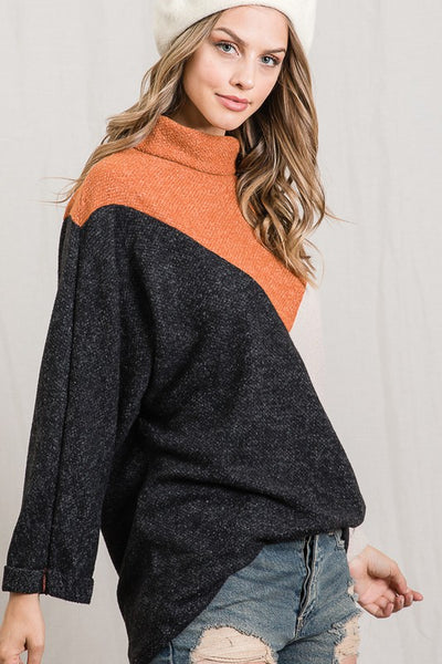 Rust Color Block Top