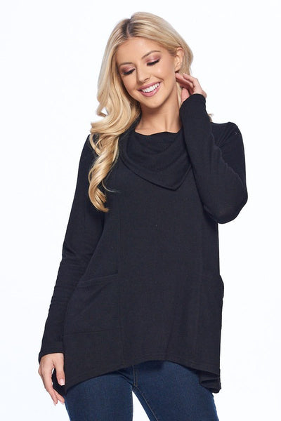 Black Knit Cowl Top
