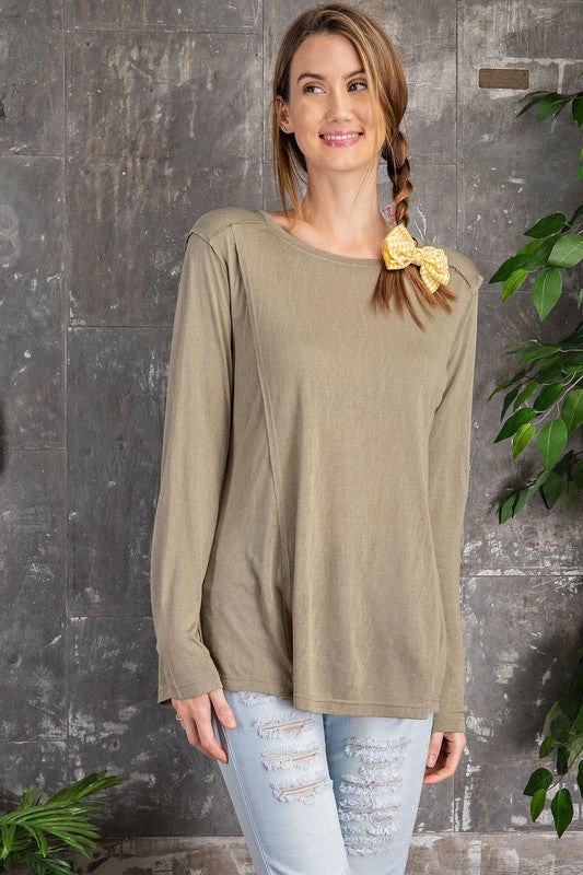 Olive Raw Edge Top