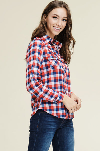 Navy & Red Plaid