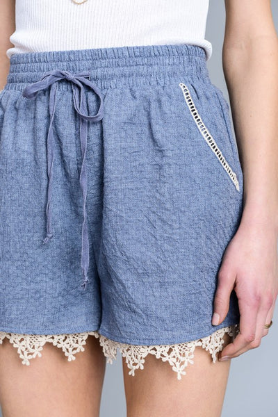 Blue Lace Trim Shorts