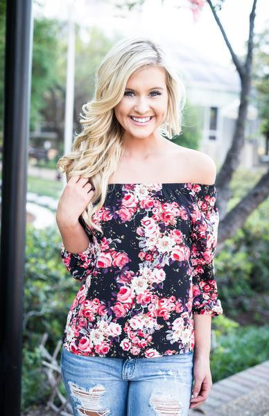 Black Floral Jewel Top