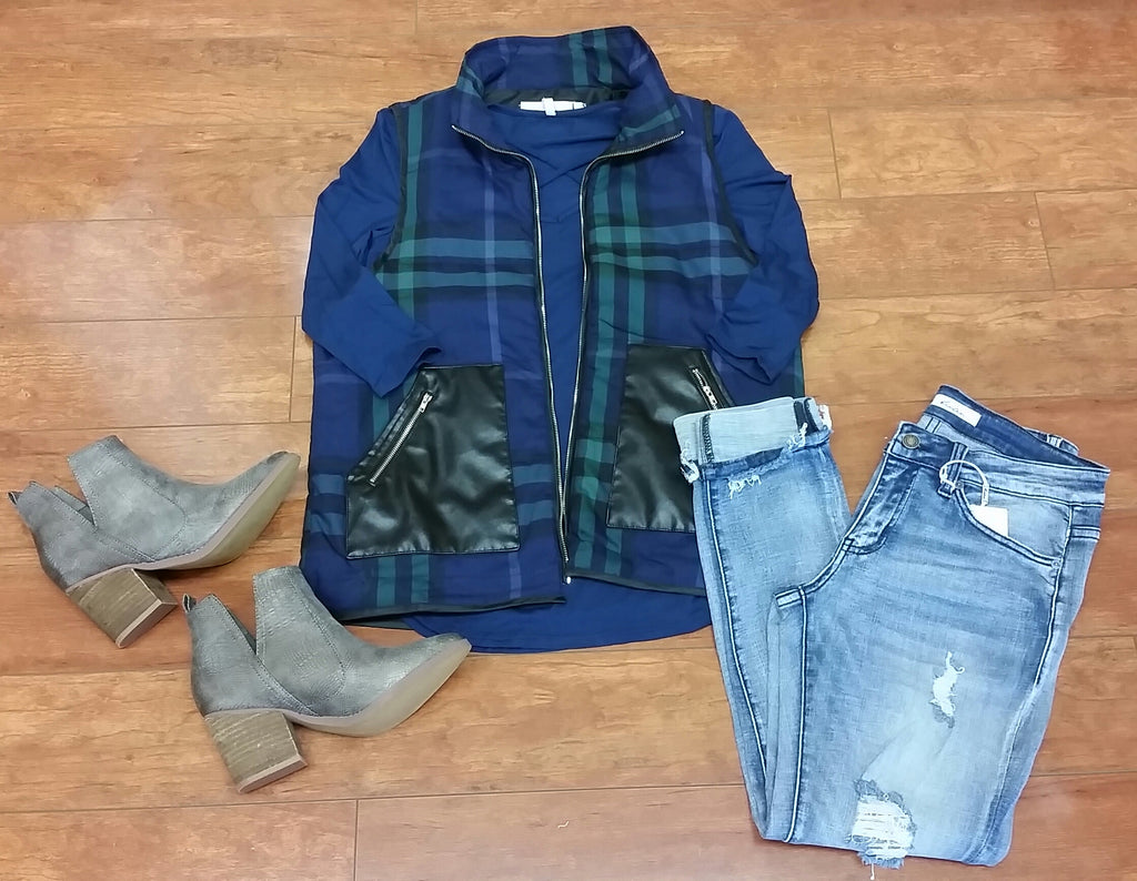 Navy & Green Plaid Vest