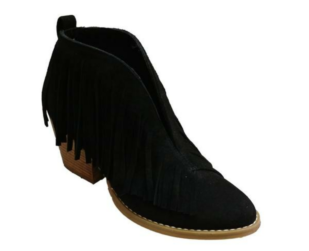 Black Travis Fringe Bootie
