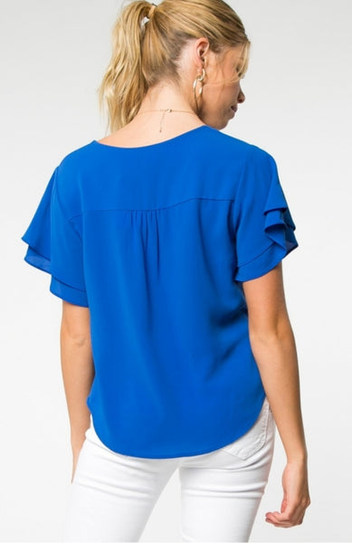 Royal Twisted Cropped Shirt