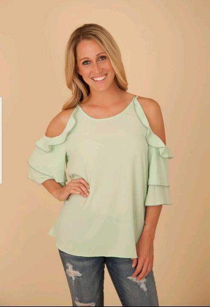 Sage Ruffle Cold Shoulder