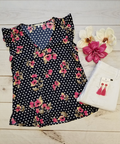 Navy Polka Floral Top