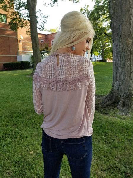 Mauve Mock Lace Top