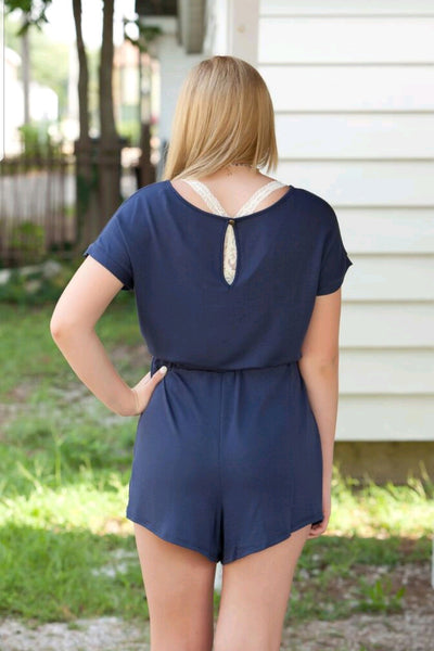 Navy French Terry Romper