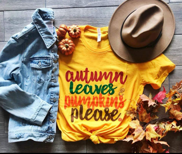 Autumn Leaves & Pumpkins Tee